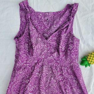 Athleta V Neck Sleeveless Printed Dress Sz 2P